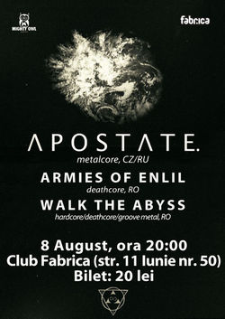 Concert Apostate pe 8 august in Club Fabrica