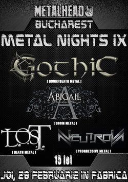 Bucharest Metal Nights 9 la Club Fabrica: Gothic, Abigail, L.O.S.T., Neutron