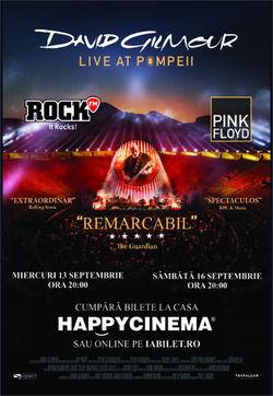 David Gilmour: Live At Pompeii la Happy Cinema pe 13 septembrie