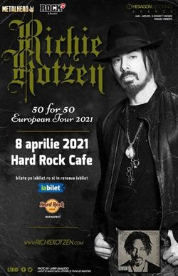 Concert Richie Kotzen: 50 for 50 pe 8 Aprilie 2021 la Hard Rock Cafe