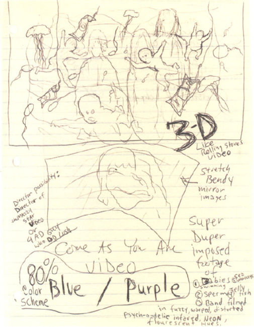 Poze Poze Nirvana - kurt's sketch for come as you are video